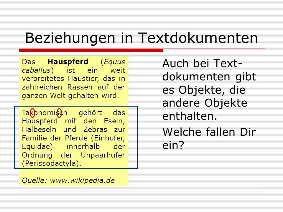 Beziehungen in Textdokumenten Auch bei Text- dokumenten gibt es Objekte, die andere Objekte enthalten. Welche fallen Dir ein? Das Hauspferd (Equus cab