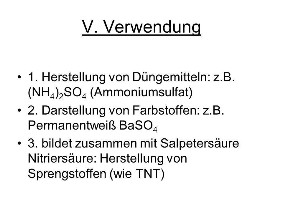 V. Verwendung 1. Herstellung von Düngemitteln: z.B. (NH 4 ) 2 SO 4 (Ammoniumsulfat) 2. Darstellung von Farbstoffen: z.B. Permanentweiß BaSO 4 3. bilde
