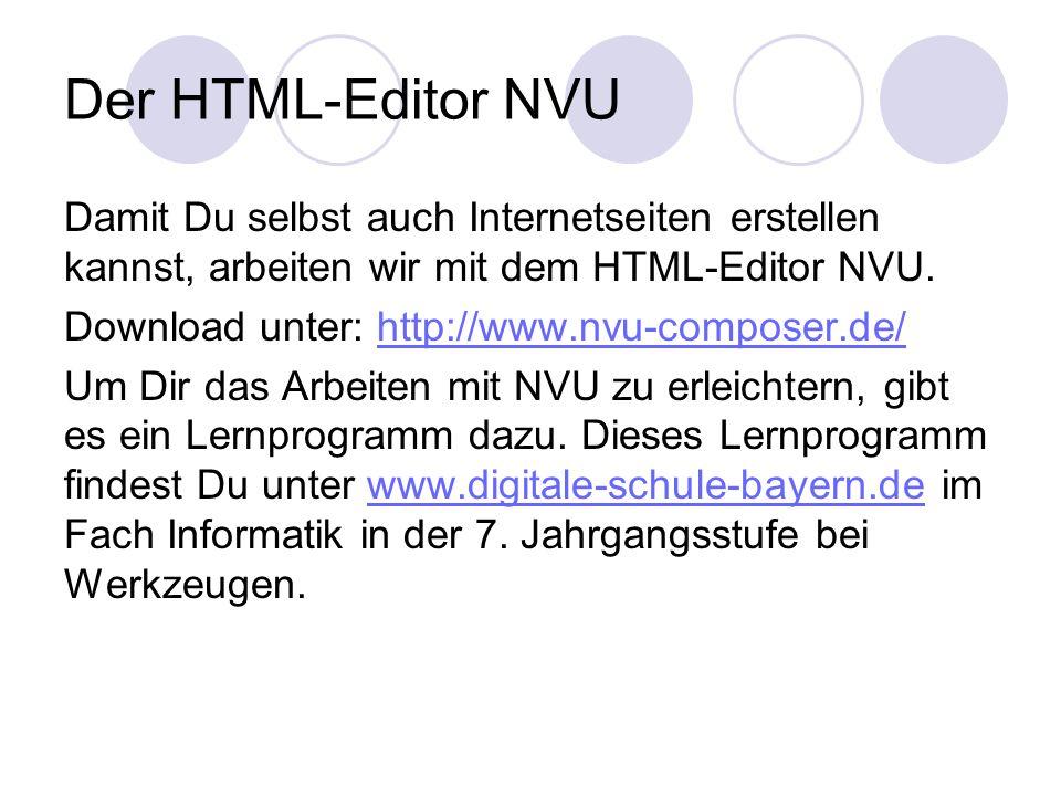 Der HTML-Editor NVU Damit Du selbst auch Internetseiten erstellen kannst, arbeiten wir mit dem HTML-Editor NVU. Download unter: http://www.nvu-compose