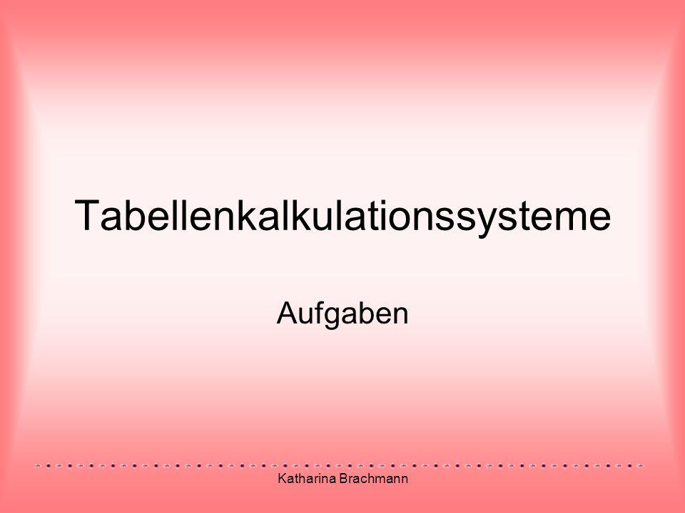 Katharina Brachmann Tabellenkalkulationssysteme Aufgaben