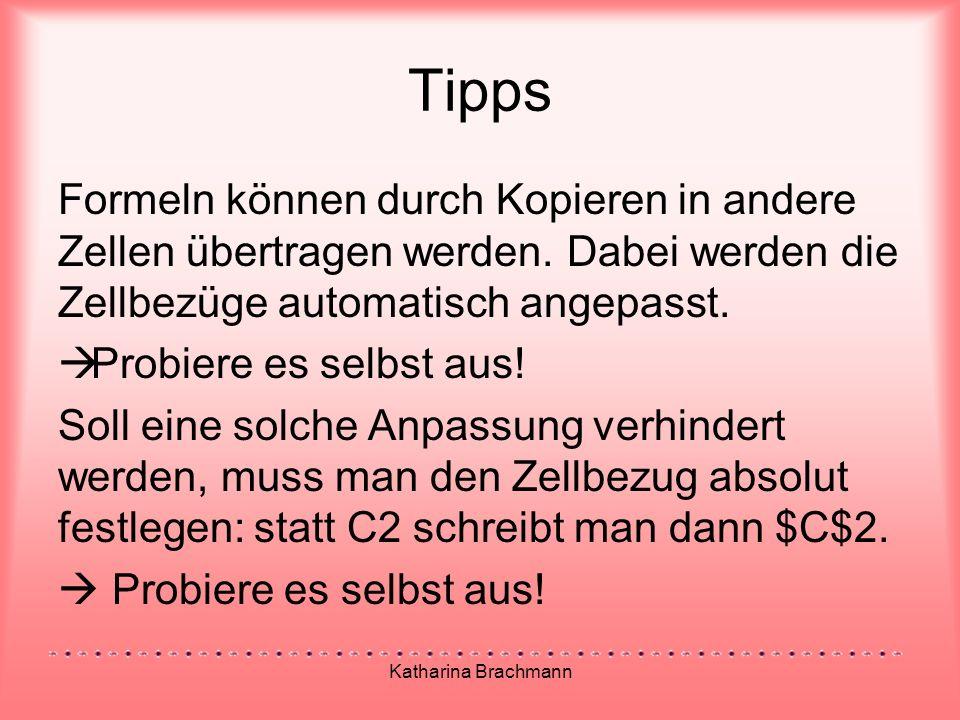 Katharina Brachmann Tipps Formeln können durch Kopieren in andere Zellen übertragen werden.