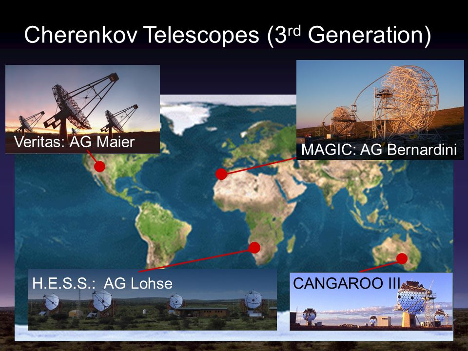 Cherenkov Telescopes (3 rd Generation) H.E.S.S.: AG LohseCANGAROO III Veritas: AG Maier MAGIC: AG Bernardini