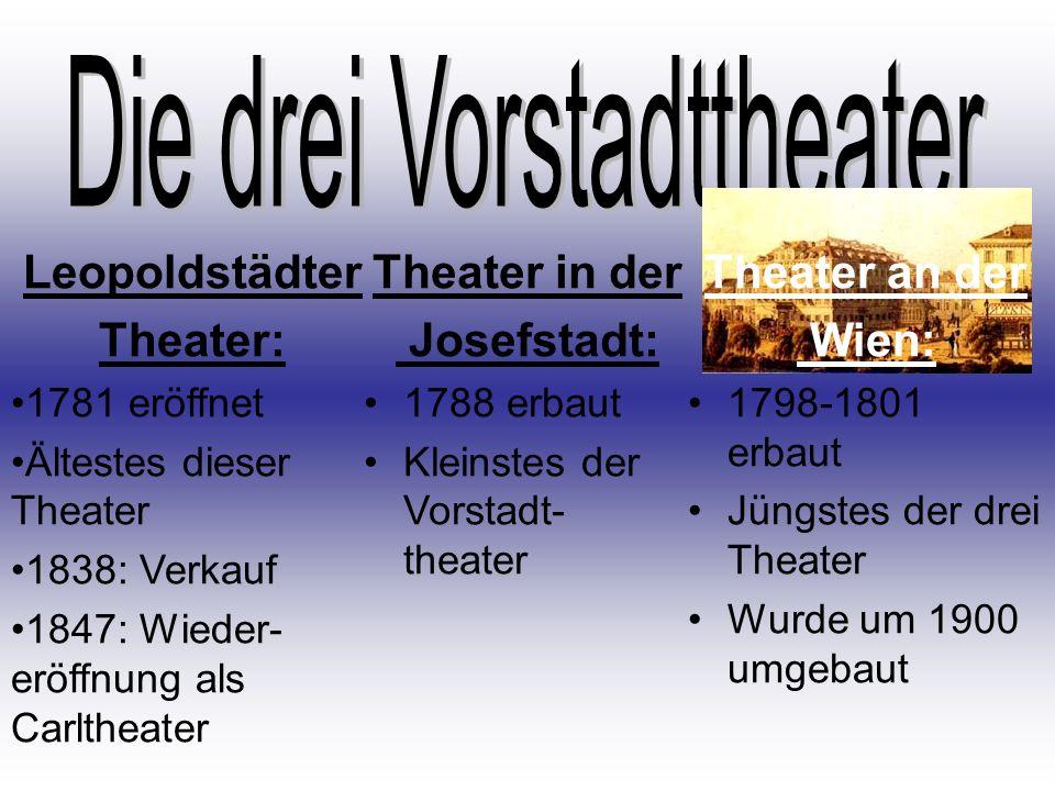 Theater in der Josefstadt: 1788 erbaut Kleinstes der Vorstadt- theater Theater an der Wien: 1798-1801 erbaut Jüngstes der drei Theater Wurde um 1900 u