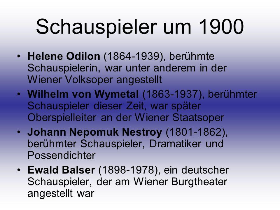 Schauspieler um 1900 Helene Odilon (1864-1939), berühmte Schauspielerin, war unter anderem in der Wiener Volksoper angestellt Wilhelm von Wymetal (186
