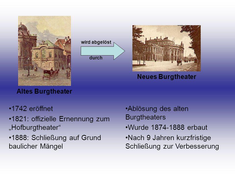 Altes Burgtheater Neues Burgtheater wird abgelöst durch 1742 eröffnet 1821: offizielle Ernennung zum Hofburgtheater 1888: Schließung auf Grund baulich