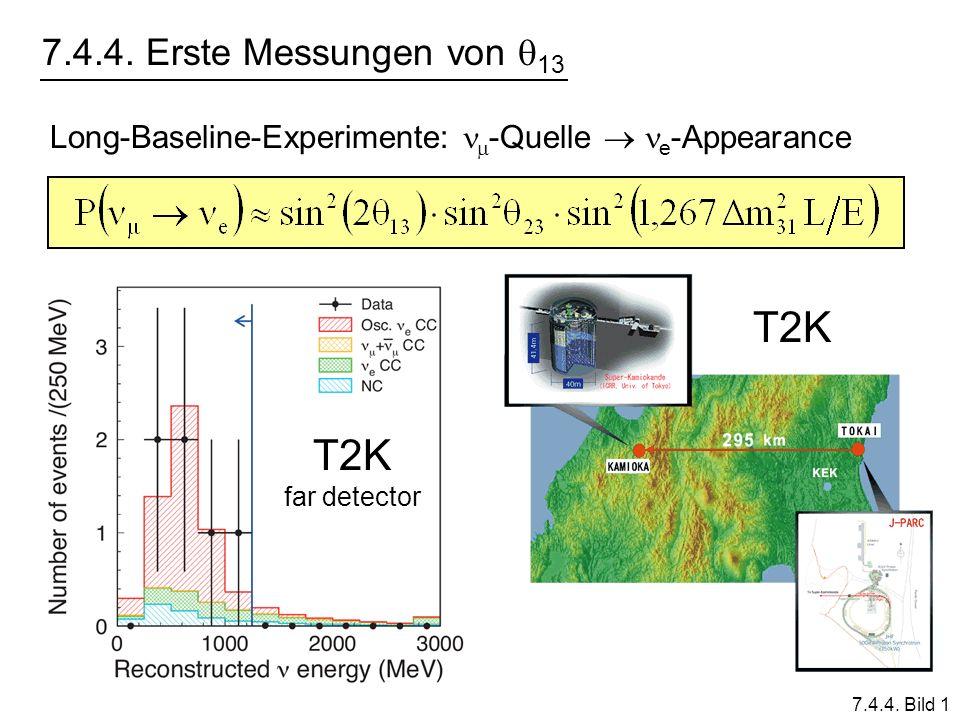 7.4.4. Erste Messungen von 13 7.4.4. Bild 1 Long-Baseline-Experimente: -Quelle e -Appearance T2K far detector