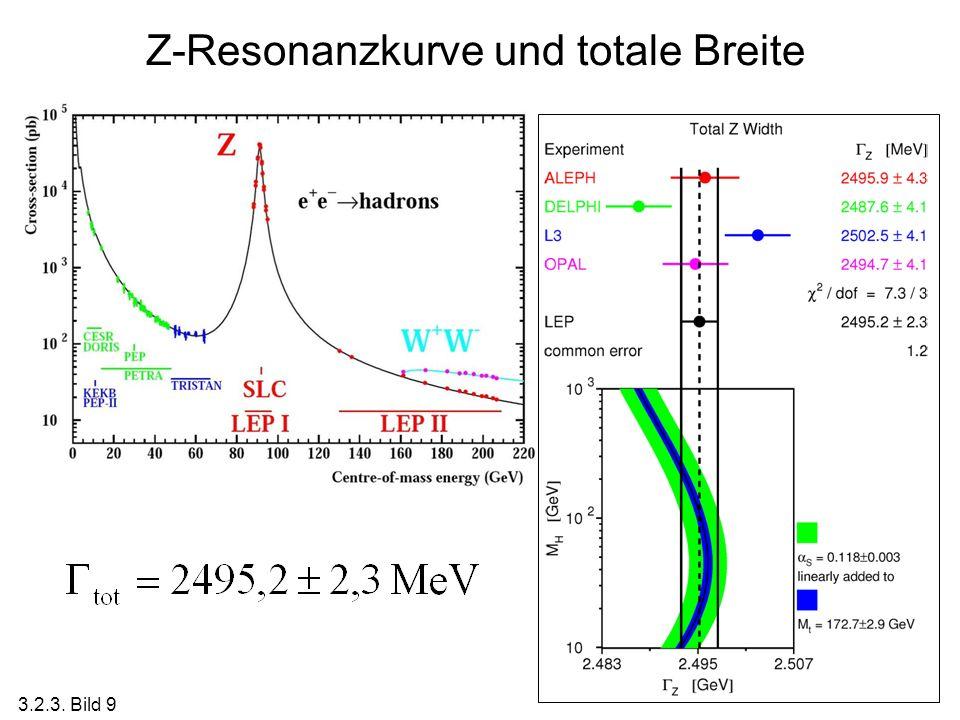 Z-Resonanzkurve und totale Breite 3.2.3. Bild 9