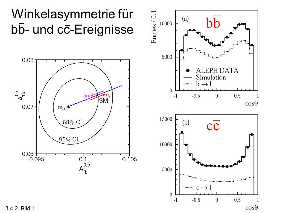 Winkelasymmetrie für bb- und cc-Ereignisse 3.4.2. Bild 1