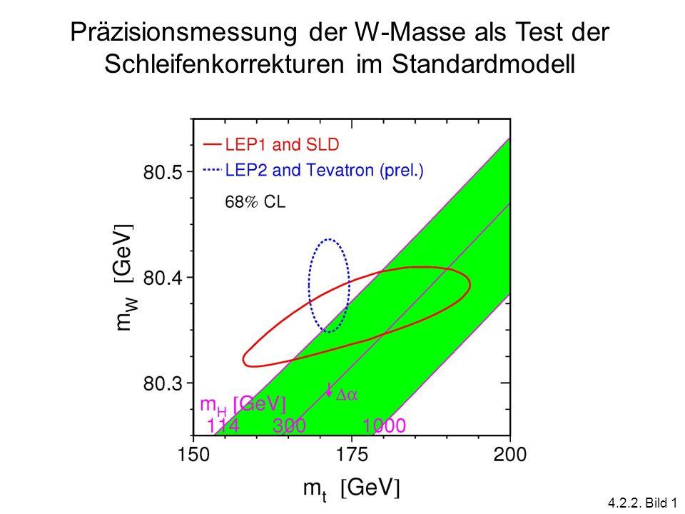 Präzisionsmessung der W-Masse als Test der Schleifenkorrekturen im Standardmodell 4.2.2. Bild 1
