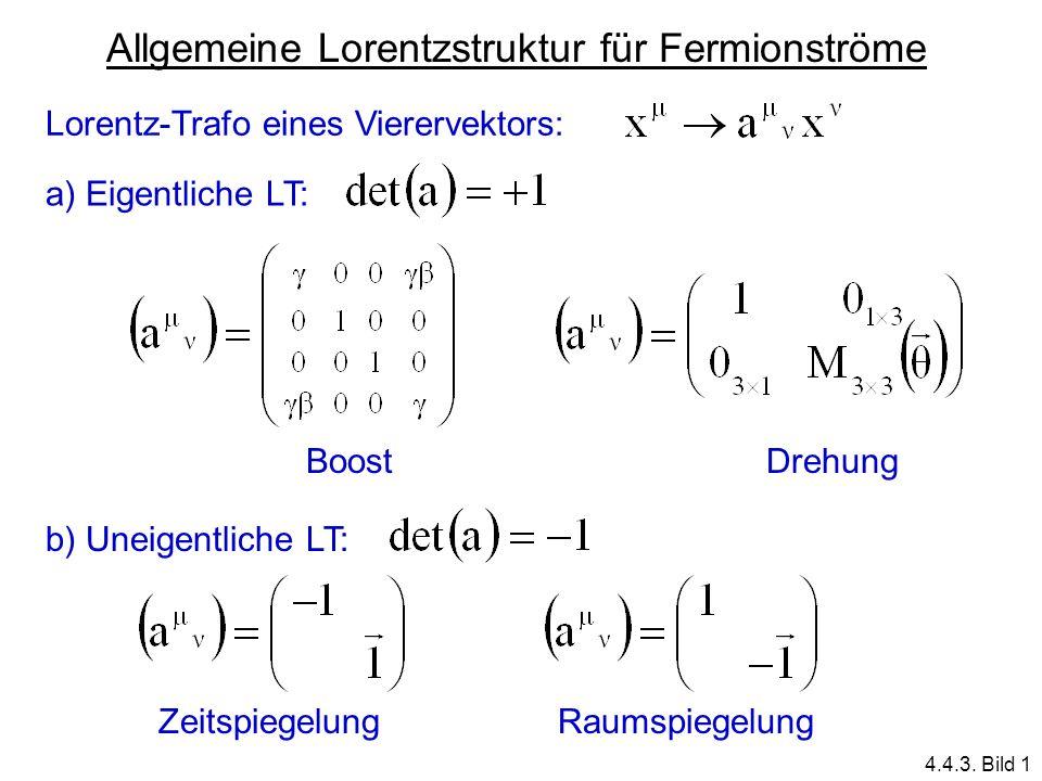 Allgemeine Lorentzstruktur für Fermionströme Lorentz-Trafo eines Vierervektors: a) Eigentliche LT: b) Uneigentliche LT: BoostDrehung ZeitspiegelungRau