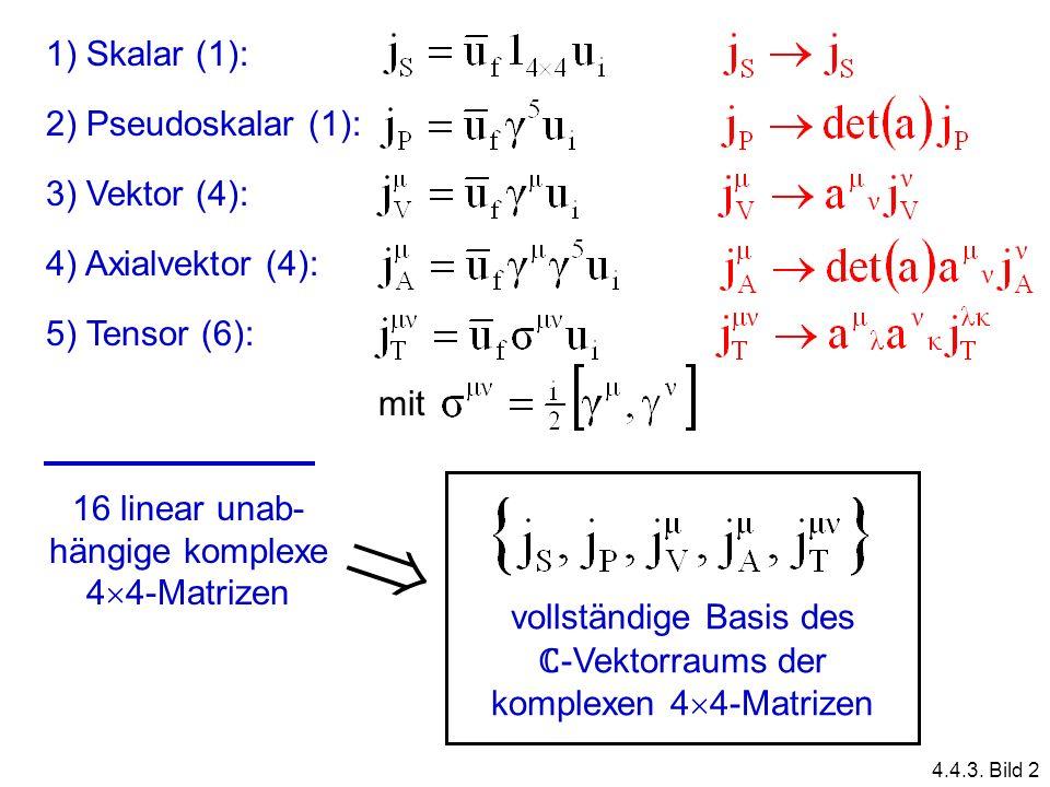 1) Skalar (1): 2) Pseudoskalar (1): 3) Vektor (4): 4) Axialvektor (4): 5) Tensor (6): mit 16 linear unab- hängige komplexe 4 4-Matrizen vollständige B