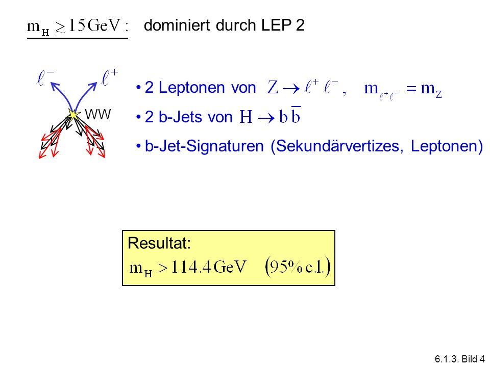 dominiert durch LEP 2 2 Leptonen von 2 b-Jets von b-Jet-Signaturen (Sekundärvertizes, Leptonen) WW Resultat: 6.1.3. Bild 4