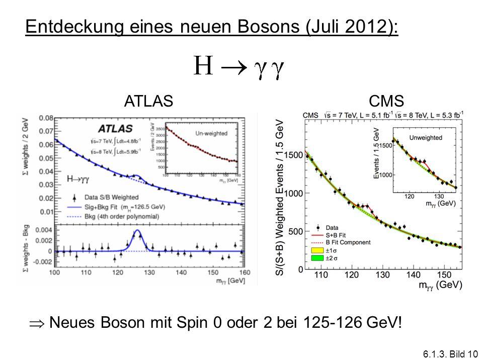 Entdeckung eines neuen Bosons (Juli 2012): ATLASCMS Neues Boson mit Spin 0 oder 2 bei 125-126 GeV! 6.1.3. Bild 10
