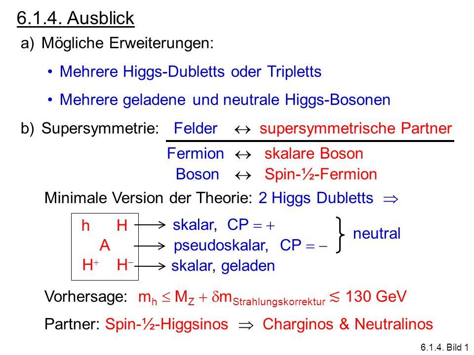 6.1.4. Ausblick a)Mögliche Erweiterungen: Mehrere Higgs-Dubletts oder Tripletts Mehrere geladene und neutrale Higgs-Bosonen b)Supersymmetrie: Felder s
