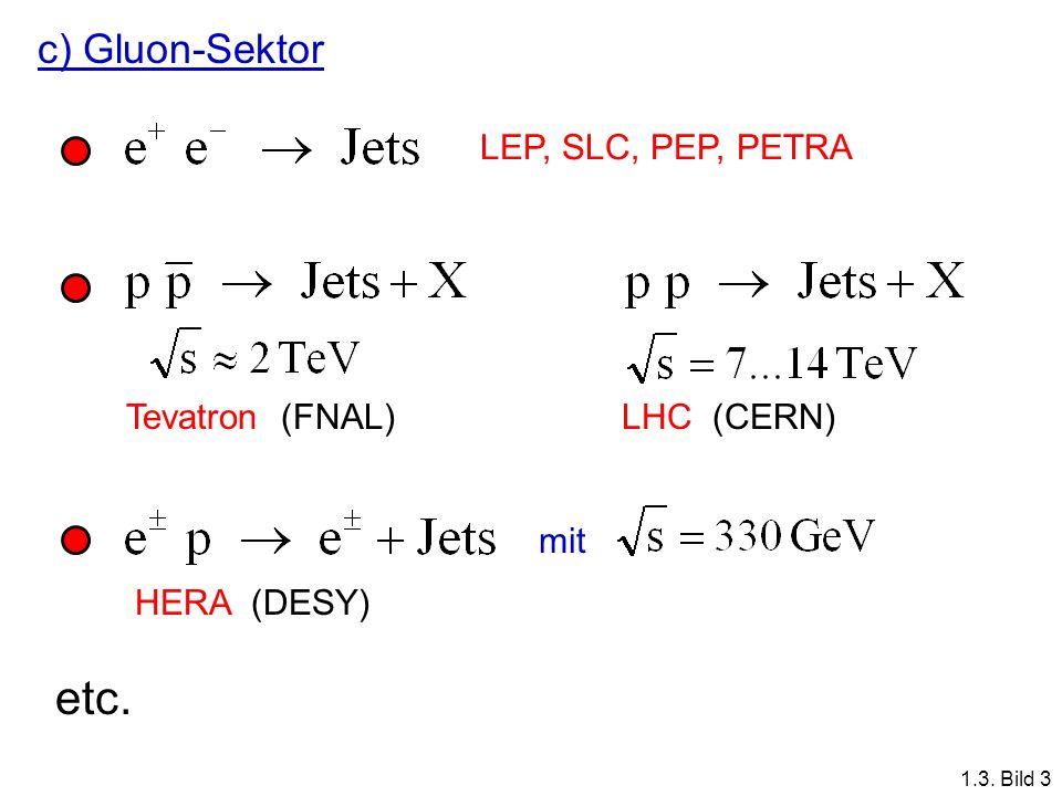 c) Gluon-Sektor LEP, SLC, PEP, PETRA Tevatron (FNAL)LHC (CERN) HERA (DESY) mit etc. 1.3. Bild 3