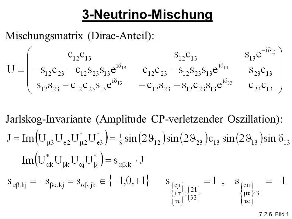 3-Neutrino-Mischung Mischungsmatrix (Dirac-Anteil): Jarlskog-Invariante (Amplitude CP-verletzender Oszillation): 7.2.6. Bild 1