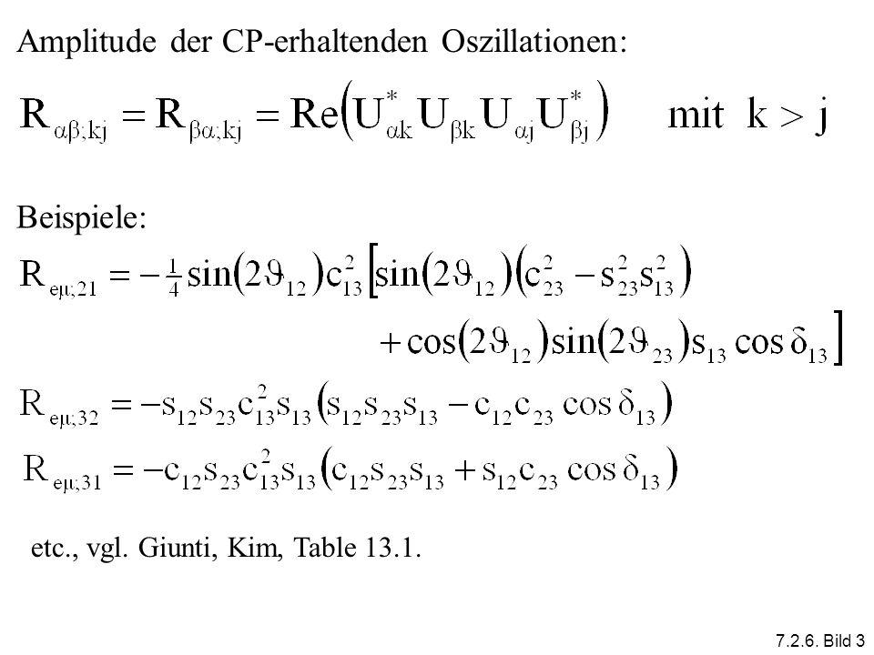 Amplitude der CP-erhaltenden Oszillationen: Beispiele: etc., vgl. Giunti, Kim, Table 13.1. 7.2.6. Bild 3