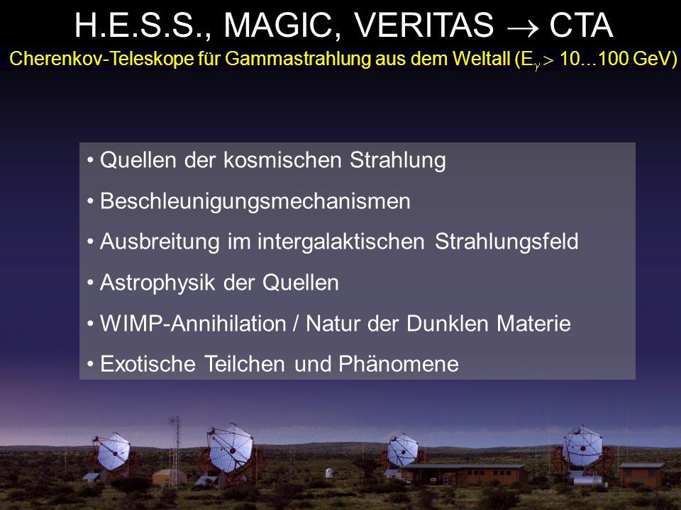 H.E.S.S., MAGIC, VERITAS CTA Cherenkov-Teleskope für Gammastrahlung aus dem Weltall (E 10...100 GeV) Quellen der kosmischen Strahlung Beschleunigungsm