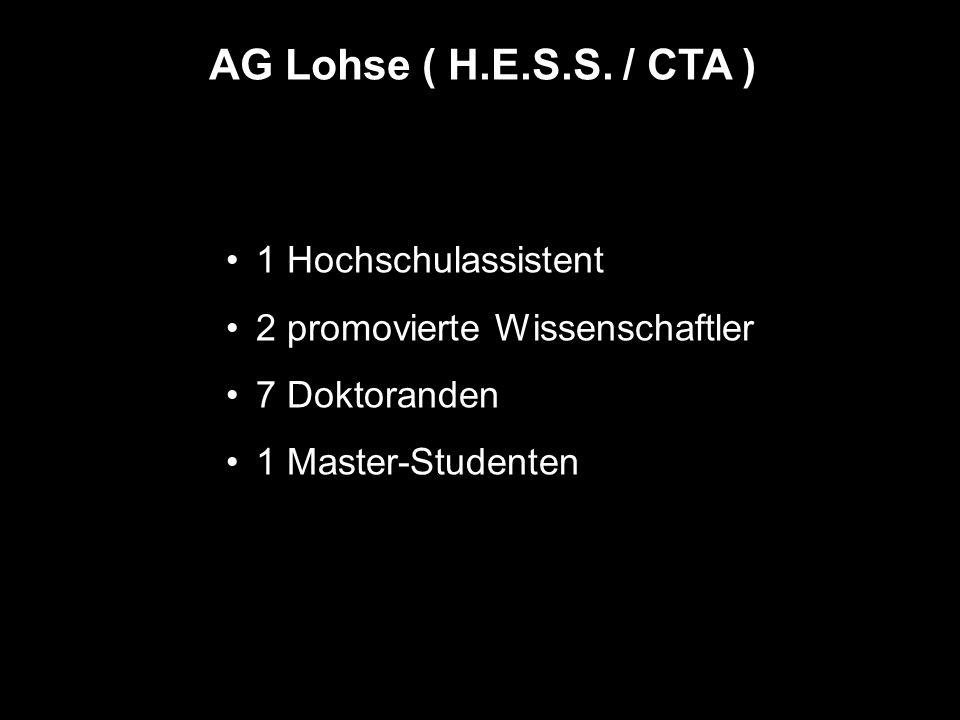 AG Lohse ( H.E.S.S. / CTA ) 1 Hochschulassistent 2 promovierte Wissenschaftler 7 Doktoranden 1 Master-Studenten