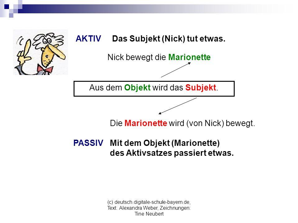 (c) deutsch.digitale-schule-bayern.de, Text: Alexandra Weber, Zeichnungen: Tine Neubert Aus dem Objekt wird das Subjekt.