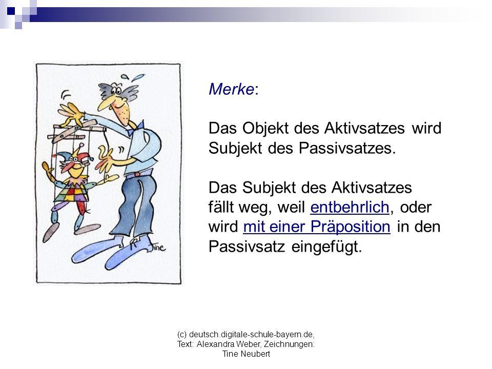 (c) deutsch.digitale-schule-bayern.de, Text: Alexandra Weber, Zeichnungen: Tine Neubert Merke: Das Objekt des Aktivsatzes wird Subjekt des Passivsatzes.