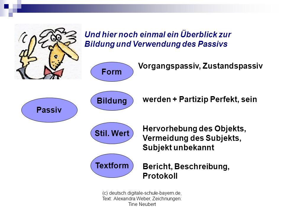 (c) deutsch.digitale-schule-bayern.de, Text: Alexandra Weber, Zeichnungen: Tine Neubert Und hier noch einmal ein Überblick zur Bildung und Verwendung des Passivs Passiv Form Bildung Stil.