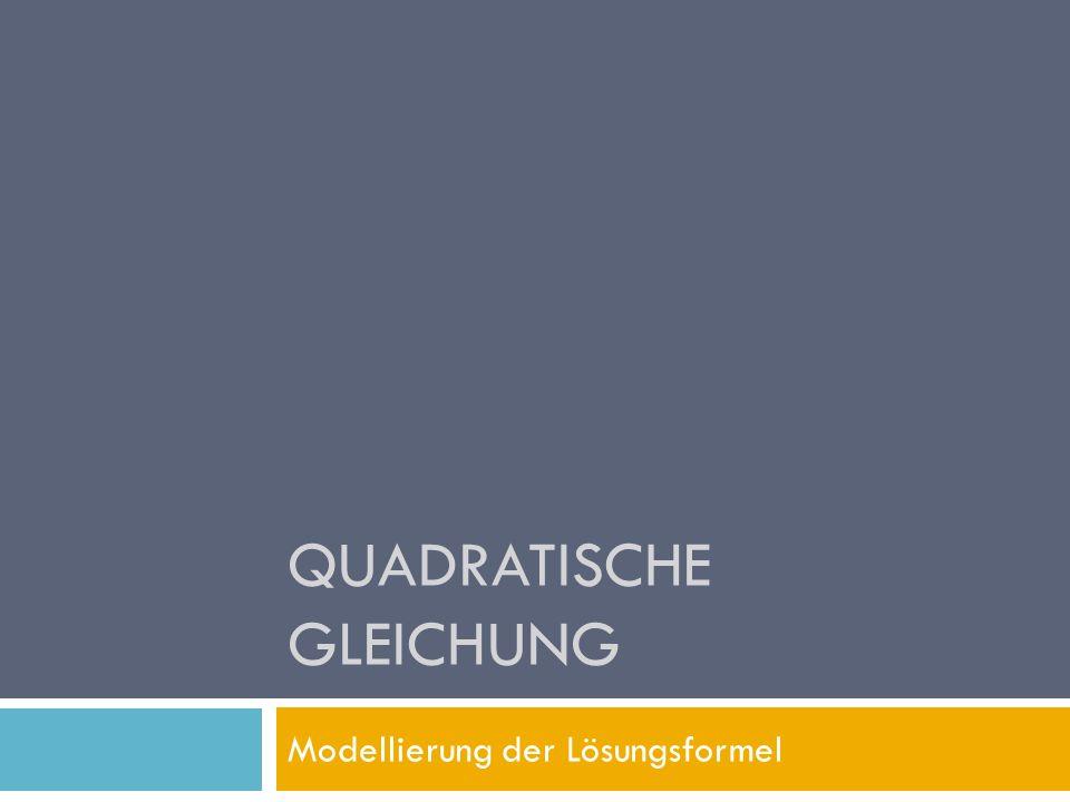 QUADRATISCHE GLEICHUNG Modellierung der Lösungsformel