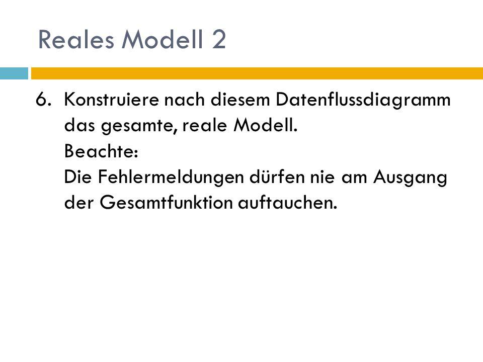 Reales Modell 2 6.Konstruiere nach diesem Datenflussdiagramm das gesamte, reale Modell. Beachte: Die Fehlermeldungen dürfen nie am Ausgang der Gesamtf