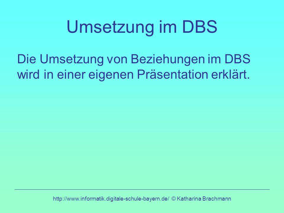 http://www.informatik.digitale-schule-bayern.de/ © Katharina Brachmann Umsetzung im DBS Die Umsetzung von Beziehungen im DBS wird in einer eigenen Präsentation erklärt.