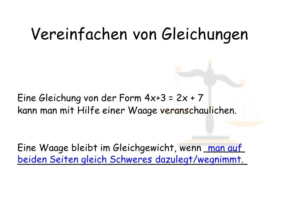 Vereinfachen von Gleichungen Eine Gleichung von der Form 4x+3 = 2x + 7 kann man mit Hilfe einer Waage veranschaulichen. Eine Waage bleibt im Gleichgew