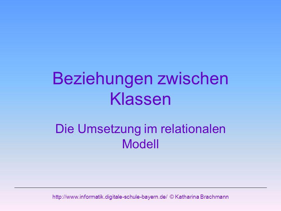 http://www.informatik.digitale-schule-bayern.de/ © Katharina Brachmann Beziehungen zwischen Klassen Die Umsetzung im relationalen Modell