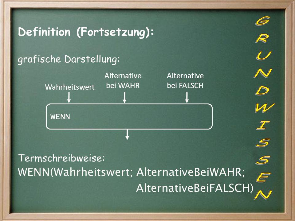 Definition (Fortsetzung): grafische Darstellung: Termschreibweise: WENN(Wahrheitswert; AlternativeBeiWAHR; AlternativeBeiFALSCH) WENN Alternative bei