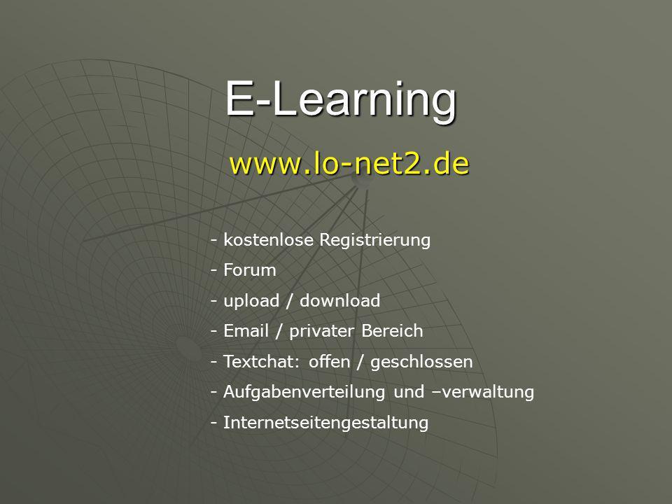 E-Learning www.lo-net2.de - kostenlose Registrierung - Forum - upload / download - Email / privater Bereich - Textchat: offen / geschlossen - Aufgabenverteilung und –verwaltung - Internetseitengestaltung