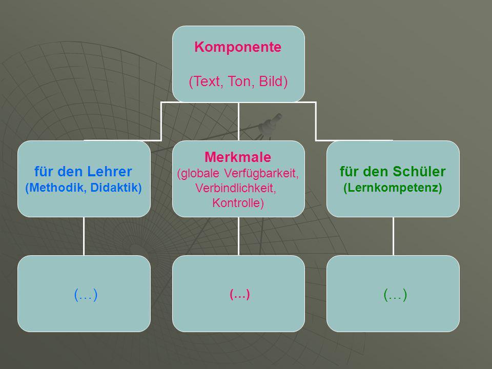 Komponente (Text, Ton, Bild) für den Lehrer (Methodik, Didaktik) Merkmale (globale Verfügbarkeit, Verbindlichkeit, Kontrolle) für den Schüler (Lernkompetenz) (…)