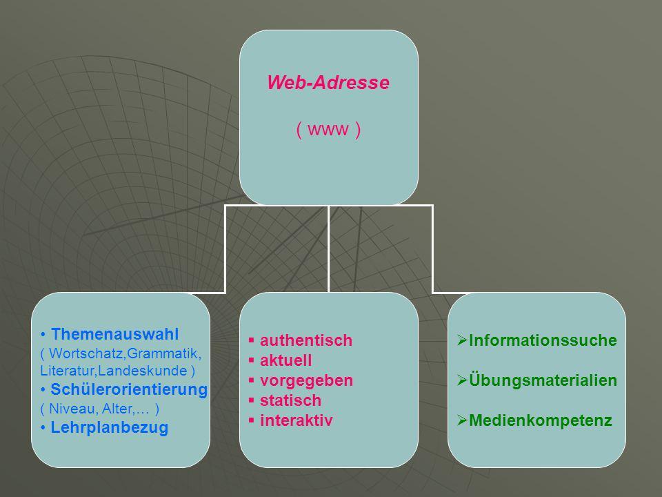 Web-Adresse ( www ) Themenauswahl ( Wortschatz,Grammatik, Literatur,Landeskunde ) Schülerorientierung ( Niveau, Alter,… ) Lehrplanbezug authentisch aktuell vorgegeben statisch interaktiv Informationssuche Übungsmaterialien Medienkompetenz