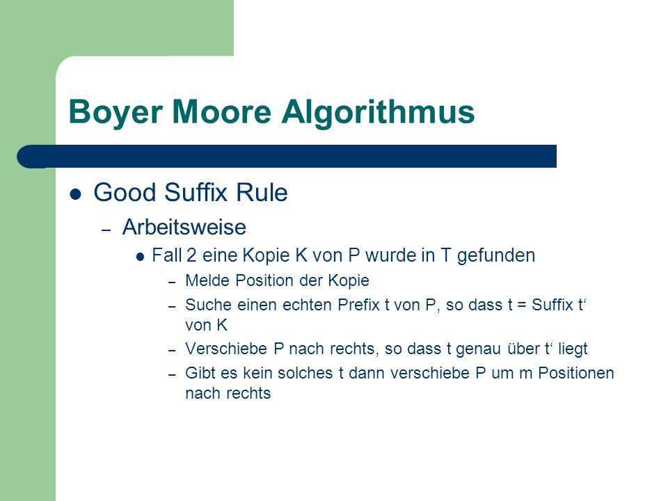 Boyer Moore Algorithmus Good Suffix Rule – Arbeitsweise Fall 2 eine Kopie K von P wurde in T gefunden – Melde Position der Kopie – Suche einen echten