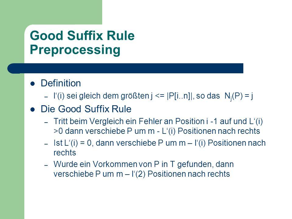 Good Suffix Rule Preprocessing Definition – l(i) sei gleich dem größten j <= |P[i..n]|, so das N j (P) = j Die Good Suffix Rule – Tritt beim Vergleich