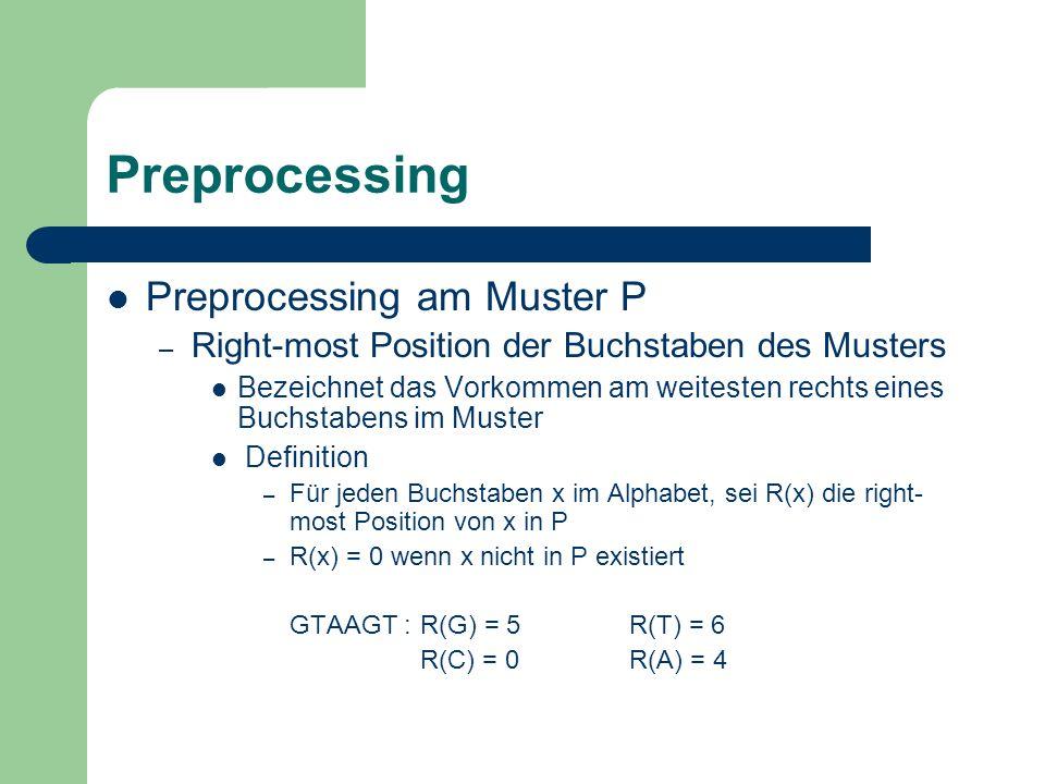 Preprocessing Preprocessing am Muster P – Right-most Position der Buchstaben des Musters Bezeichnet das Vorkommen am weitesten rechts eines Buchstaben