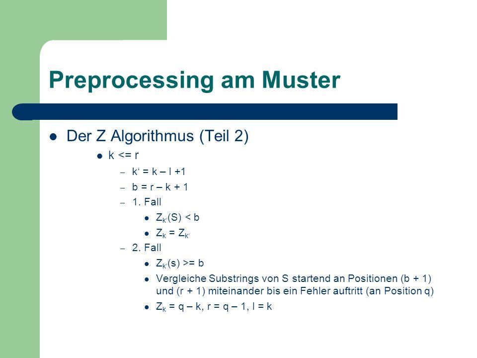 Preprocessing am Muster Der Z Algorithmus (Teil 3) – Ziel Berechnen von Z i (S) Werten durch benutzen der Z j (S) Werte für j < i Beispiel k = 121, r 120 = 130, l 120 = 100 – Z 22 (S) = 3 – Dann folgt, Z 121 (S) ist ebenfalls 3