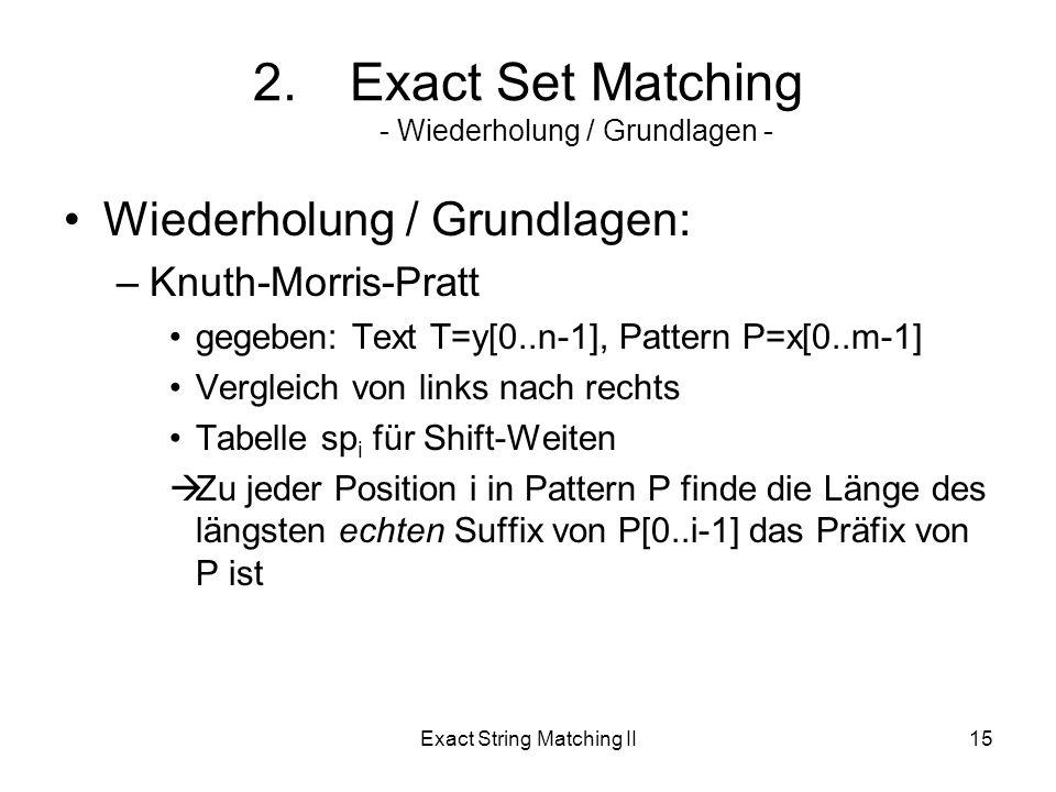 Exact String Matching II15 2.Exact Set Matching - Wiederholung / Grundlagen - Wiederholung / Grundlagen: –Knuth-Morris-Pratt gegeben: Text T=y[0..n-1], Pattern P=x[0..m-1] Vergleich von links nach rechts Tabelle sp i für Shift-Weiten Zu jeder Position i in Pattern P finde die Länge des längsten echten Suffix von P[0..i-1] das Präfix von P ist