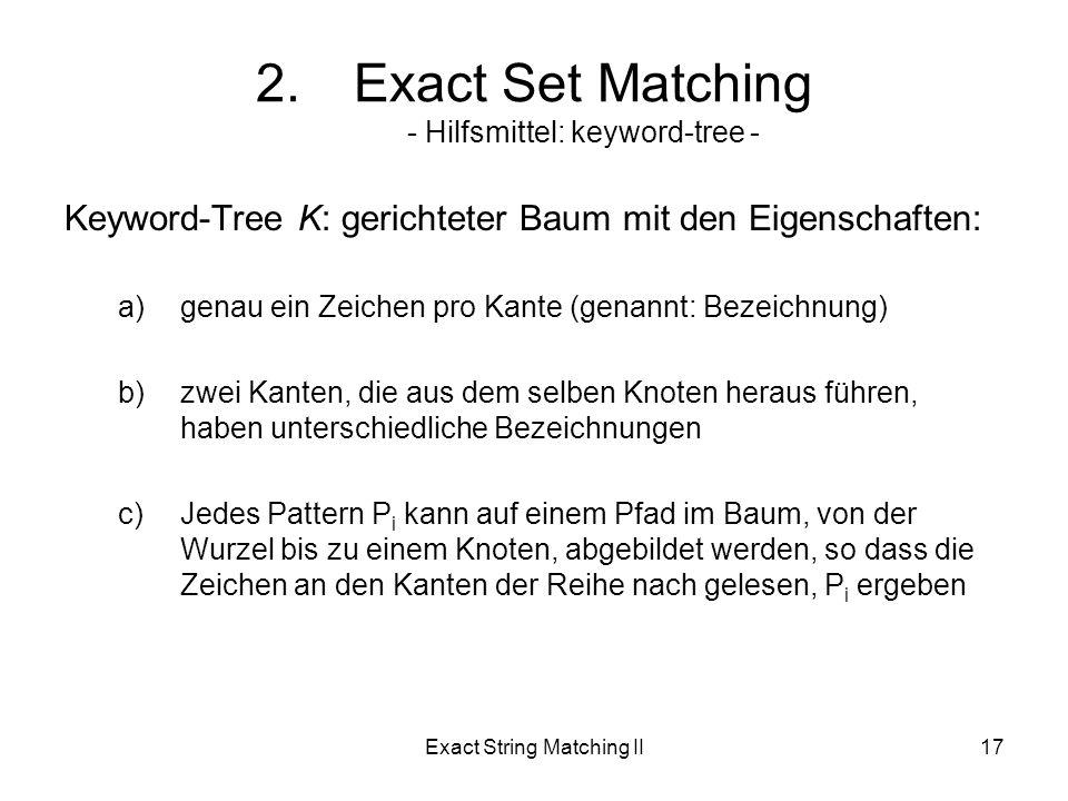 Exact String Matching II17 Keyword-Tree K: gerichteter Baum mit den Eigenschaften: a)genau ein Zeichen pro Kante (genannt: Bezeichnung) b)zwei Kanten, die aus dem selben Knoten heraus führen, haben unterschiedliche Bezeichnungen c)Jedes Pattern P i kann auf einem Pfad im Baum, von der Wurzel bis zu einem Knoten, abgebildet werden, so dass die Zeichen an den Kanten der Reihe nach gelesen, P i ergeben 2.Exact Set Matching - Hilfsmittel: keyword-tree -