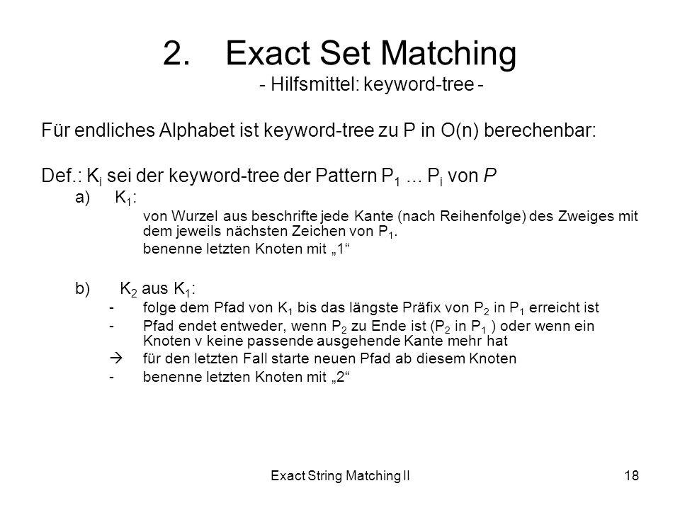 Exact String Matching II18 Für endliches Alphabet ist keyword-tree zu P in O(n) berechenbar: Def.: K i sei der keyword-tree der Pattern P 1...