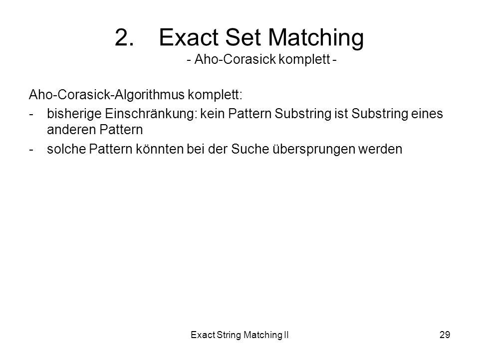 Exact String Matching II29 Aho-Corasick-Algorithmus komplett: -bisherige Einschränkung: kein Pattern Substring ist Substring eines anderen Pattern -solche Pattern könnten bei der Suche übersprungen werden 2.Exact Set Matching - Aho-Corasick komplett -