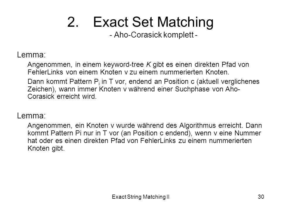 Exact String Matching II30 Lemma: Angenommen, in einem keyword-tree K gibt es einen direkten Pfad von FehlerLinks von einem Knoten v zu einem nummerierten Knoten.