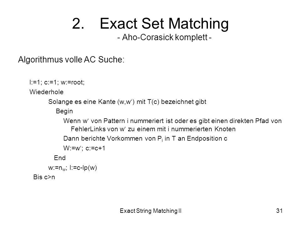 Exact String Matching II31 Algorithmus volle AC Suche: l:=1; c:=1; w:=root; Wiederhole Solange es eine Kante (w,w) mit T(c) bezeichnet gibt Begin Wenn w von Pattern i nummeriert ist oder es gibt einen direkten Pfad von FehlerLinks von w zu einem mit i nummerierten Knoten Dann berichte Vorkommen von P i in T an Endposition c W:=w; c:=c+1 End w:=n w ; l:=c-lp(w) Bis c>n 2.Exact Set Matching - Aho-Corasick komplett -