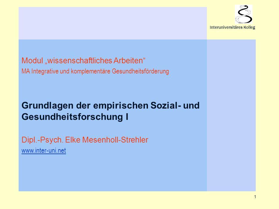 1 Interuniversitäres Kolleg Modul wissenschaftliches Arbeiten MA Integrative und komplementäre Gesundheitsförderung Grundlagen der empirischen Sozial-