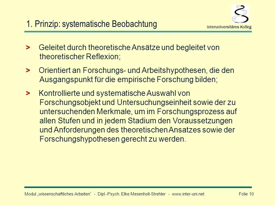 Modul wissenschaftliches Arbeiten - Dipl.-Psych. Elke Mesenholl-Strehler - www.inter-uni.net Folie 10 Interuniversitäres Kolleg 1. Prinzip: systematis