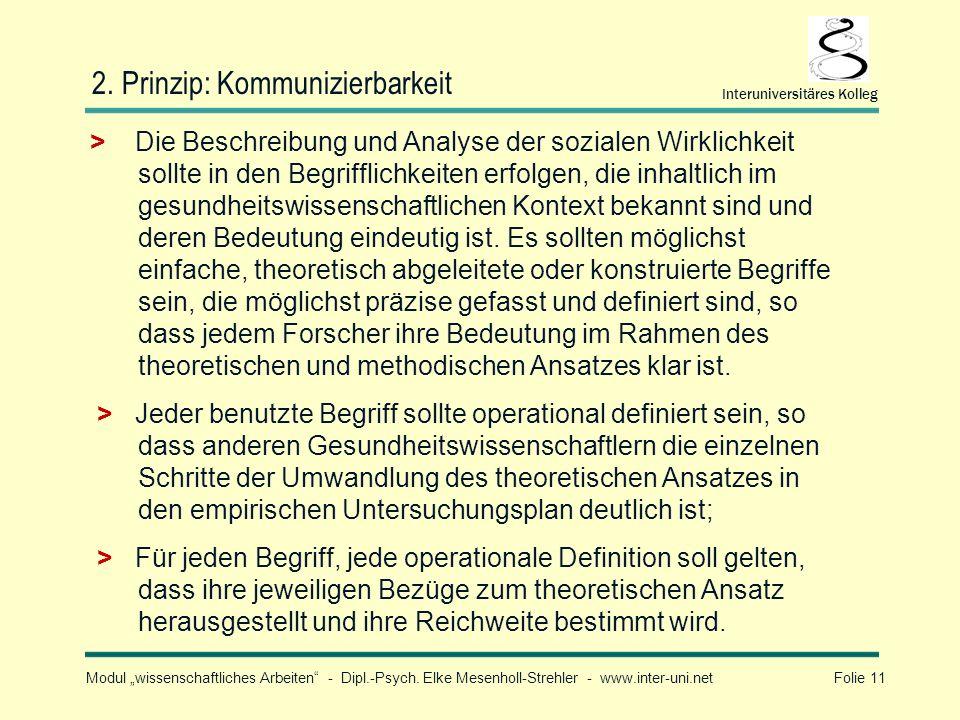 Modul wissenschaftliches Arbeiten - Dipl.-Psych. Elke Mesenholl-Strehler - www.inter-uni.net Folie 11 Interuniversitäres Kolleg 2. Prinzip: Kommunizie
