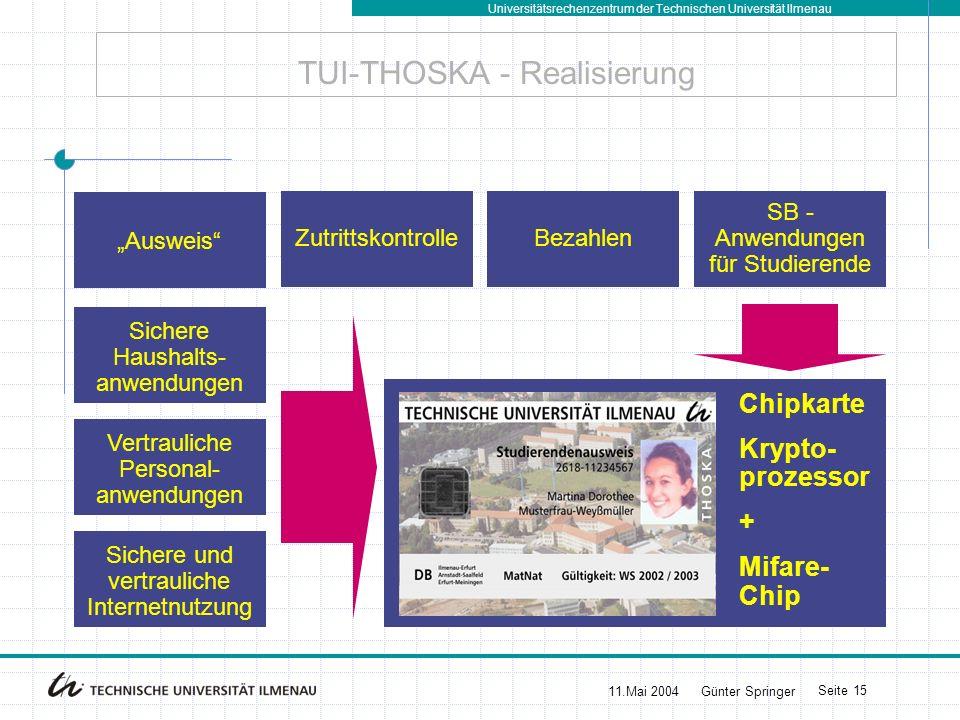 Universitätsrechenzentrum der Technischen Universität Ilmenau 11.Mai 2004Günter Springer Seite 16 BU Weimar - THOSKA - Layout -Vorderseite: - Name + Lichtbild - Mifare-Chip (unsichtbar) - TRW-Folie - (kein Kryptoprozessor) -Rückseite: - UB-Barcode - Telefonnummern (Kontakt) - Sponsoren