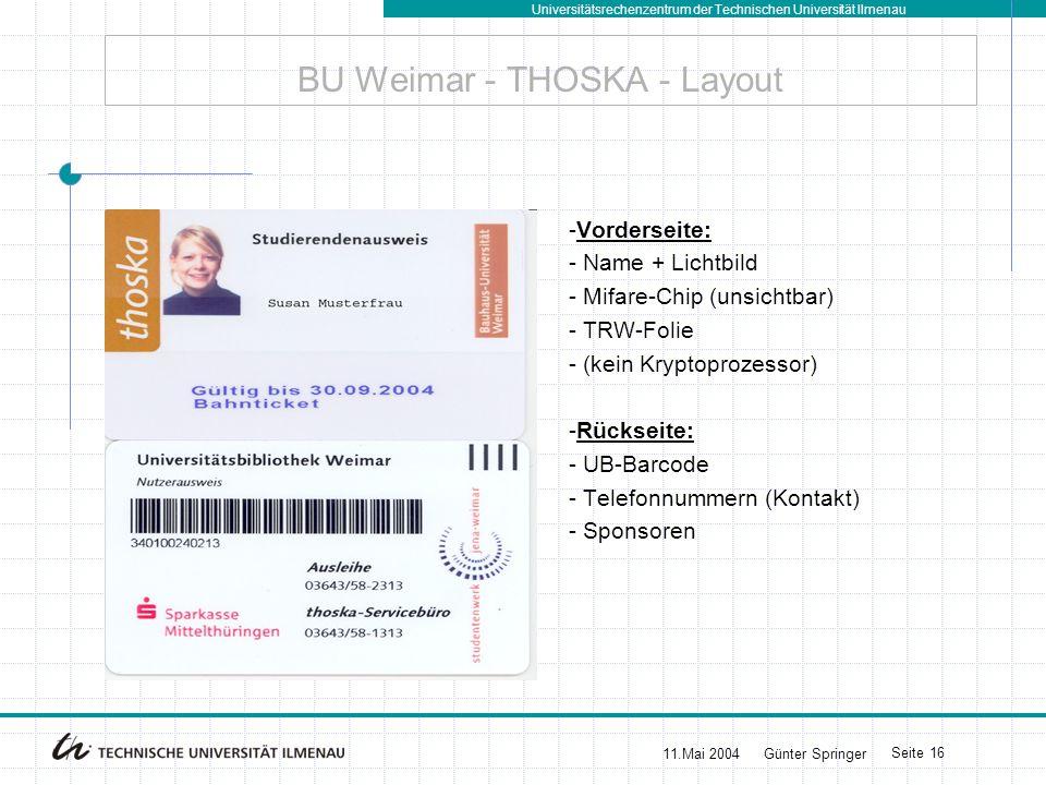 Universitätsrechenzentrum der Technischen Universität Ilmenau 11.Mai 2004Günter Springer Seite 16 BU Weimar - THOSKA - Layout -Vorderseite: - Name + L